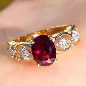 14k Solid Yellow Gold Oval Garnet & Diamond Ring
